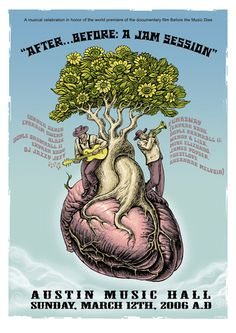 EMEK- Erykah Badu austin, heart tree illustration of musicians playing blues on top of anatomical heart with a tree growing out of it with blue sky and clouds as background