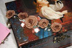 """Купить Шкатулка """"Дорогая пташечка"""" - коричневый, шкатулка для украшений, Декупаж, французский стиль, темно-коричневый"""