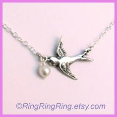 Genuine pearl Bird pendant Sterling silver by RingRingRing on Etsy. $29.00