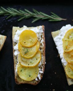 summer squash tartines with ricotta, rosemary and lemon