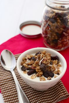 cherri chocol, chocolates, coconuts, chocolate coconut granola, chocol coconut, breakfast, cherries, chocol granola