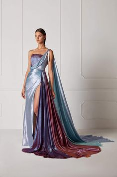 one shouldr grecian wedding gown with slit The Hamda Al Fahim Spring/Summer 2019 Collection features vibrant colorful evening gowns and swoon-worthy feminine silhouettes bound to make even Disney princesses super jealous. Fashion Mode, Couture Fashion, 70s Fashion, Womens Fashion, Hippie Fashion, Fashion Hacks, Korean Fashion, Winter Fashion, Fashion Tips
