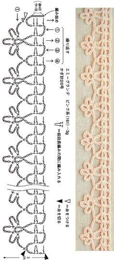 Crochet Borders, Crochet Stitches Patterns, Crochet Chart, Love Crochet, Crochet Designs, Easy Crochet, Stitch Patterns, Crochet Tutorials, Crochet Hoodie