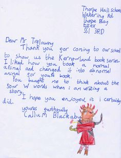 Jack Trelawny school author visit to Thorpe Hall Lower School SS1 3RD  (UK). The school sent the after-visit work the children had done in class. Letter and artwork from Callum Blackaby