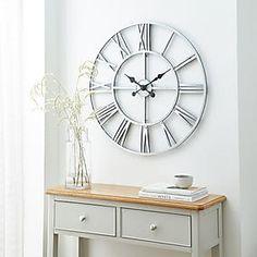 Glitter Mirrored 50cm Wall Clock Silver   Dunelm Silver Wall Clock, Mirror Wall Clock, Mirror With Shelf, Dining Room Clock, Kitchen Wall Clocks, Kitchen Dining, Skeleton Wall Clock, Wall Clock Brands, Glass Cube