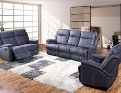 Canapé 3 places relax électrique en tissu bleu POMELO