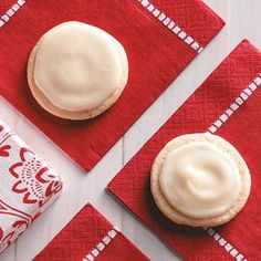 Eggnog Cookies Recipe from Taste of Home -- Eggnog stars in both the cookie and frosting in this recipe, imparting a subtle holiday flavor.—Amanda Taylor, Glen Ewen, Saskatchewan