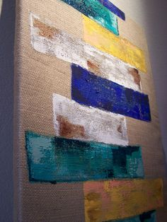 Original burlap wrapped canvas painting teal blue yellow tan