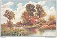 "CUAC POSTAL ILUSTRADOR ARTHUR W. BRIDGEMAN ""THE RIVER FARM RINGWOOD"" PICTURESQUE COUNTIES OILETTE"