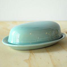 Vintage Butter Dish - Pale Turquoise Ringware Motif - Ceramic. $14.00, via Etsy.