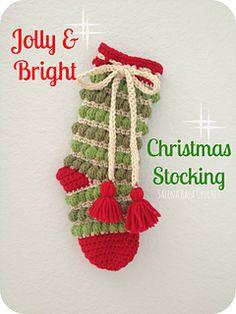 Ravelry: Jolly & Bright Christmas Stockings pattern by Salena Baca Crochet Christmas Stocking Pattern, Crochet Stocking, Holiday Crochet, Homemade Christmas, Christmas Crafts, Christmas 2015, Christmas Stuff, Christmas Ornaments, Double Crochet