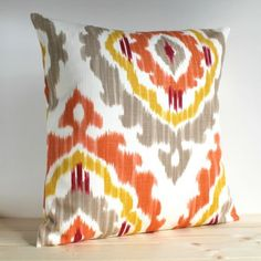 Orange-and-Gold-Ikat-Pillow-Cover-18-x-18-Ikat-Cushion-Cover