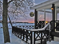 Cafe Laituri, Kotka, Finland Best Coffee Shop, Coffee Shops, Winter Scenes, Finland, Cottages, Winter Wonderland, Patio, Cold, Outdoor Decor