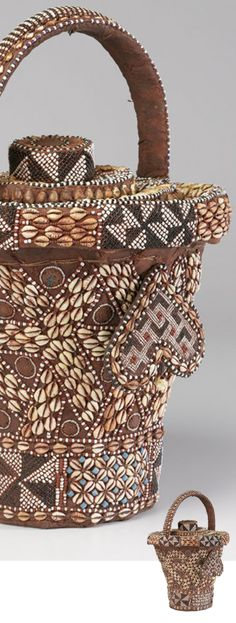 Africa | Wisdom Basket (Kweemishaam'l) from the Kuba people of DR Congo | 19th - 20th century | Raffia, cane, cowries, glass beads, copper