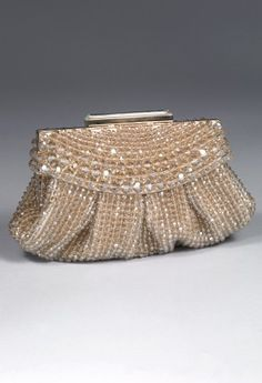 "Sondra Roberts satin and crystal beads clutch handbag features:• Assorted tonal crystals• Fold over top closure• 22"" metal chain strap• Fully lined        • inner pocket"