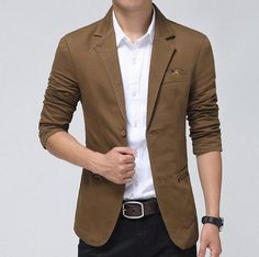 Find More Blazers Information about Casual Blazer Men Khaki,Brown, Black Fashion… Casual Blazer, Men Casual, Terno Slim, High Neck Shirts, Floral Blazer, Blazer Fashion, Blazers For Men, Suit Jacket, Skirt Suit