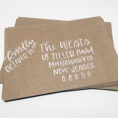 Envelopes with hand lettering — modern calligraphy or brush lettering — will help your invitations to feel special right as your guests slip them from the mailbox. I offer a variety of lettering style