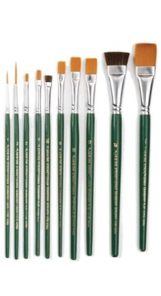 Plaid One Stroke Paint brushes -10 varying in size. Great for florals and greens. 2 script liners brushes, six flat brushes, 2 scruffy brushes