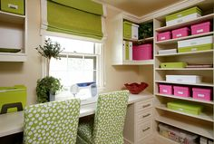 Love this craft room! Pink Green and white stunning decor color combo