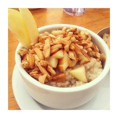 vegan apple cinnamon oatmeal with soy milk