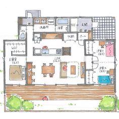 """清家修吾 on Instagram: """". 【ボツプラン718】 敷地の西側を広めに空けてありますが、家とは何のつながりも無いのでもったいないです。 . 南側に他の家が建つかもしれない事を考慮すると、建物は極力東西に長く、南北に細く設計したほうが良いです。 .…"""" Japan House Design, Interior Garden, Decoration, My Dream Home, Dorm Room, House Plans, Sweet Home, Floor Plans, Flooring"""