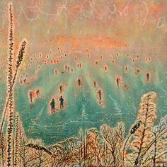 "Saatchi Online Artist: kate williamson; Acrylic, 2013, Painting ""National Bonspiel, Idaburn Dam, NZ (large-scale)"""