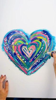 Kreis Logo Design, Heart Art, Heart Canvas, Valentines Art, Heart Painting, Diy Canvas Art, Art Club, Kid Art Projects, Heart Projects