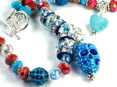 Turquoise Blue/Caramel Brown Skull Necklace Blue by PurseCharming7, $28.00
