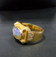 Opal Ring Vintage 18 K solid gold black opal by TRIBALEXPORT, $1850.00