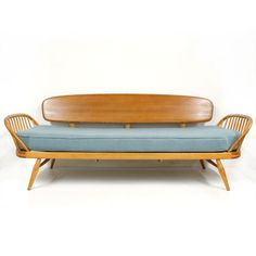 1950s-60s Blue Ercol Studio Couch Mid Century Modern Vintage Windsor New Upholst #ercol
