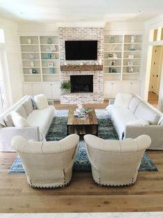 Coastal Farmhouse living room. White washed brick, oak floors @our_coastal_farmhouse insta feed