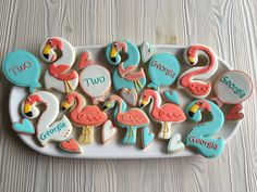 Flamingo birthday cookies for a 2 year old....by Dyan