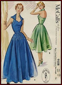 McCall's 9508 - 1953 Vintage Sewing Patterns McCall's 1950s Dart fitted Sweetheart Halter Princess Seams Wing Collar Gored Skirts Full Skirts Featherboning McCalls Dresses Evening Contrast Boned Belts 1953