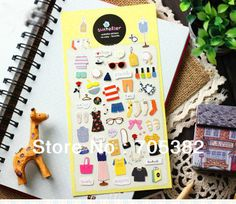 1PC New Lovely Clothes Wardrobe series PVC sticker Decoration label Diary stickers Wholesale (SS-7400)