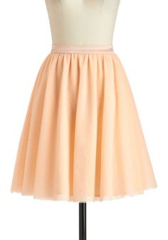 Turning in Tulle Skirt - Mid-length, Orange, Solid, Daytime Party, A-line, Pastel, Ballerina / Tutu $47.99