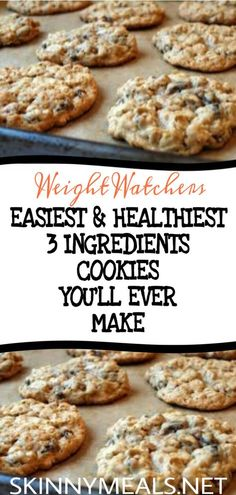 Healthy Cookies with 3 Ingredients Easydesserts # Cookierecipes # # Icecream Chocolate # Yummyfood … Ww Desserts, Weight Watchers Desserts, Dessert Recipes, Healthy Cookies, Healthy Desserts, Healthy Recipes, Ww Recipes, Baking Recipes, Cookie Recipes