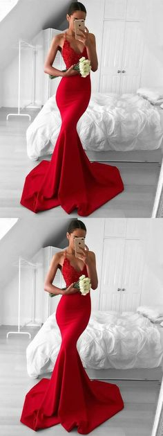 Halter Neck Red Mermaid Prom Dress with Train, Red Mermaid Formal Dress #redpromdress #mermaidpromdress #reddress #mermaiddress #prom #prom2018 #prom2k18 #fashion #beauty #trends #dresses