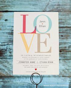 LOVE Art Wedding Invitation Set, Invitation & Rsvp Card, Custom Colors - DEPOSIT. $100.00, via Etsy.