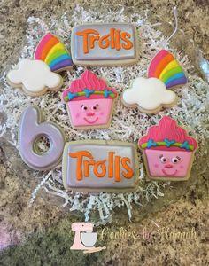 Colorful Trolls Birthday Party Sugar Cookies TheIcedSugarCookie.com Cookies By Hannah