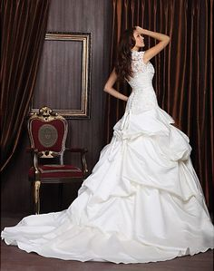 Ball Gown Sweetheart Chapel Train Satin Lace by LaceWeddingBridal