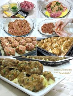 Taco meatballs are made with lean ground pork or beef, stuffed with cheddar cheese cut into cubes. Meatballs are simple to make and always a hit. These Low Carb Taco meatballs are perfect for any gathering or party. Taco Meatballs with Cheddar (for South Beach Phase 1) | Dietplan-101 Yields: 36 meatballs Ingredients: 1 1/2 …