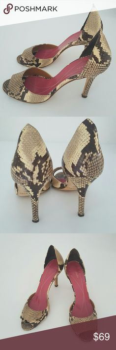 """Kate Spade Snake Print Leather Pumps Authentic pair of shoes from Kate Spade, snake print leather with peep-toe, perfect for any outfit and any occasion, been worn very gentle. Gently worn on the soles.  Heels are 3,5"""" these are doesn't come with box or dust bag. kate spade Shoes Heels"""