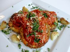 Low-Carb Eggplant Parmesan with Fire-Roasted Tomato Sauce & Fried Garlic {gluten-free}