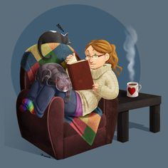 Happiness is a good book, comfy chair, hot cup of tea and a friend that won't talk while you're reading.