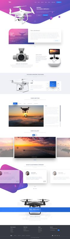 Reflex is an app landing page & Product showcase PSD Template that is designed to build modern. It is being created following modern design standards and typography. The Design is clean and profess... #drones #psd #webdesign