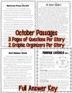 October Close Reading each w/ 3 pages of Text Dependent Questions & 2 graphic organizers for Text Evidence Answer Key National Popcorn Month National Pizza Month Red Ribbon Week All About Bats Scarecrows All About Corn Chocolate All About Spiders Halloween Safety Pumpkin Lifecycle David Shannon Steven Kellogg Autumn Pumpkins, Pumpkins Columbus Day Christopher Columbus Fire Safety Spooky Skeletons Autumn/Fall RI.1., RI.2, RI.4. (A few questions are aligned to RI.3, RI.5, RI.6, RI.7, RI.8)