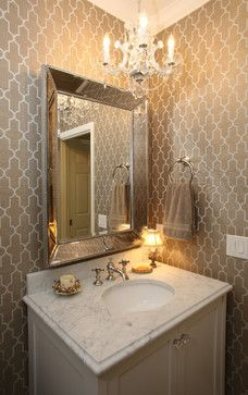 Powder room - small vanity, wallpaper