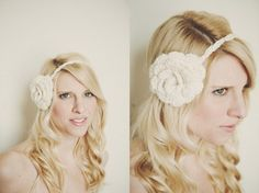 Bridal Crocheted Headband in Swirling White with by ShopLadyLike, $20.00