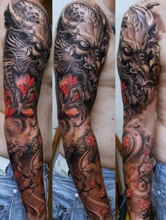 Really Cool Full Sleeve Arm Tattoo - Best Full Arm Sleeve Tattoos For Men: Cool Sleeve Tattoo Designs and Ideas Asian Tattoo Sleeve, Jesus Tattoo Sleeve, Mens Full Sleeve Tattoo, Full Sleeve Tattoo Design, Dragon Sleeve Tattoos, Japanese Sleeve Tattoos, Best Sleeve Tattoos, Body Art Tattoos, Tattoo Sleeves