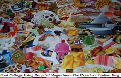 "Fruit and Vegetable ""I-SPY"" Collage using #Recycled Magazines"